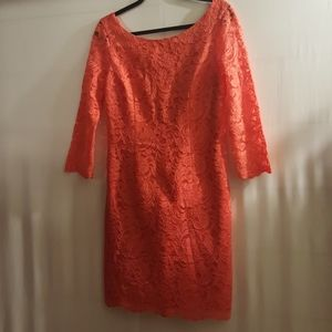 Vince Camuto Coral Lace Wiggle Dress Size 8!
